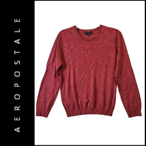 Aeropostale Men Maroon knit Long Sleeve Sweater